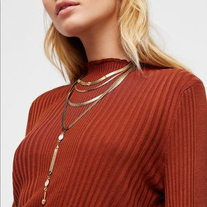 🌸NWT Free People Gold Chain Opal Necklace